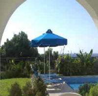 Ellas villa to rent in Kissonerga Paphos, Cyprus on a weekly basis - The pool area with sea view
