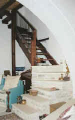 This sweeping wooden staircase is just one of the traditional features of Naturela house in Vavla.